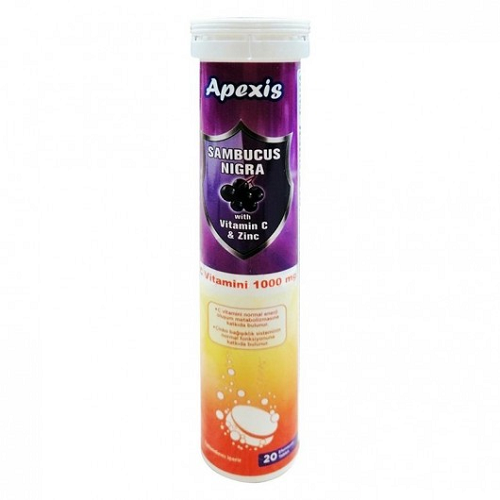 Apexis Sambucus Nigra Vitamin C & Zinc 1000 mg 20 Efervesan Tablet Ürün Fotoğrafı