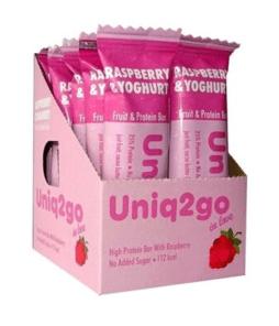 Uniq2go In Love Yoğurt Aromalı ve Ahududulu Protein Bar 32 Gr 12 Adet'in Ürün Fotoğrafı