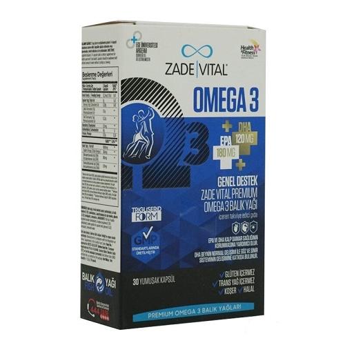 Zade Vital Omega 3 Balık Yağı Premium 30 Kapsül'ün Ürün Fotoğrafı