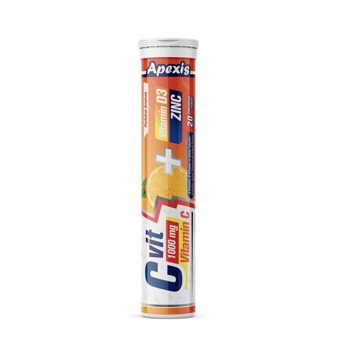 Apexis C Vit 1000 Mg + D3 + Zinc 20 Efervesan Tablet'in Ürün Fotoğrafı