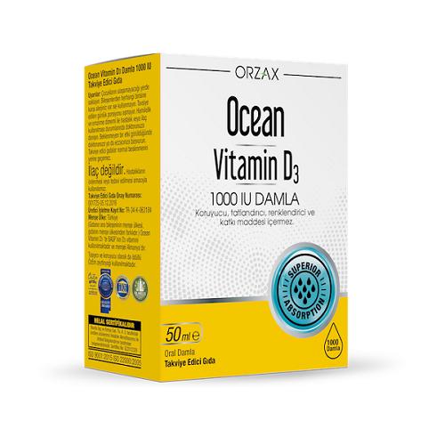 Orzax Ocean Vitamin D3 50 ML / 1000 IU'nun Ürün Fotoğrafı