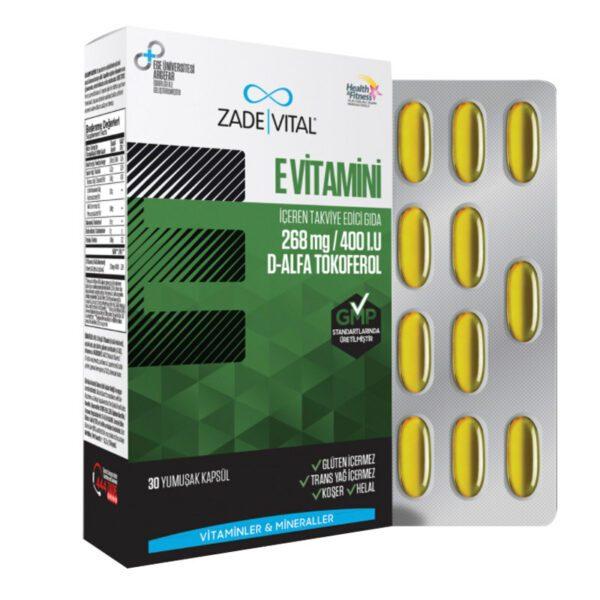 Zade Vital E Vitamini 30 Kapsül / 266 Mg'ın Ürün Fotoğrafı