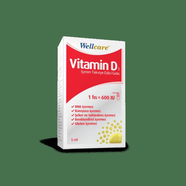 Wellcare Vitamin D3 600 IU 5 Ml'nin Ürün Fotoğrafı