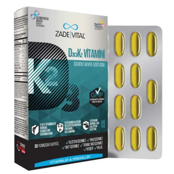 Zade Vital D3 + K2 30 Kapsül'ün Ürün Fotoğrafı
