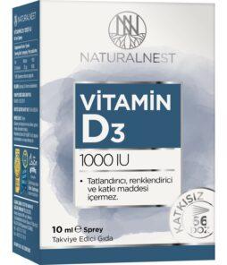 NaturalNest Vitamin D3 1000 IU 10 ml Sprey'in ürün fotoğrafı