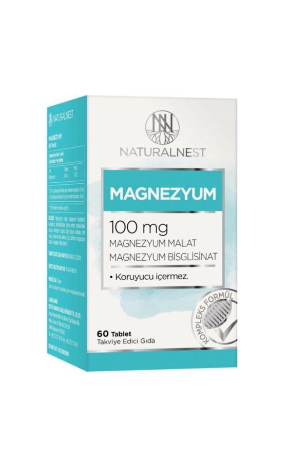 Naturalnest Magnezyum 100 Mg 60 Tablet'in ürün fotoğrafı