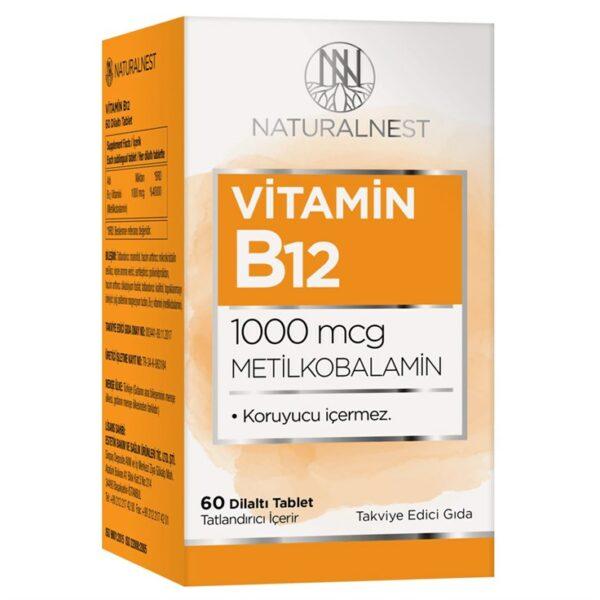 Naturalnest Vitamin B12 60 Dilaltı Tablet'in ürün fotoğrafı