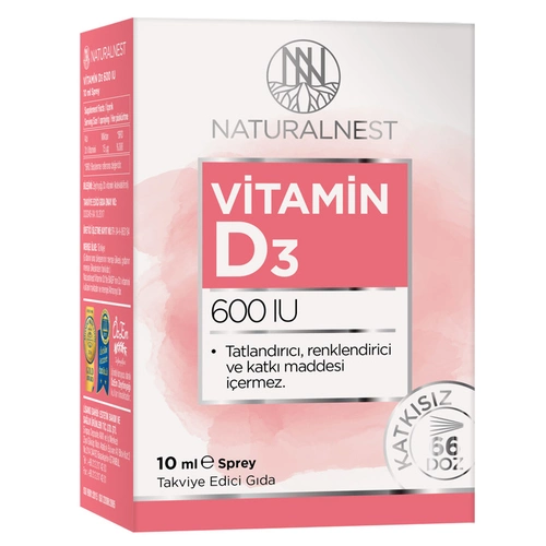 Naturalnest Vitamin D3 600 Iu 10 ml Sprey'in ürün fotoğrafı