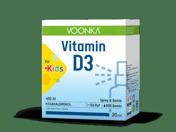 Voonka D3 for kids 20 ml sprey & damla'nın ürün fotoğrafı